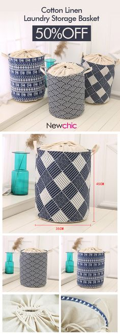 Waterproof Durable Cloth Storage Basket High Capacity Cotton Linen Laundry Box Organizer is personalized, see other cheap storage baskets on NewChic.
