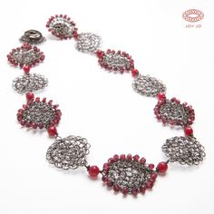 Eliana necklace: '900 - garnet and black rhodium