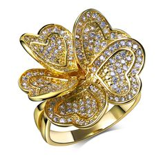 Very nice Ring! Fashion Flower Design Heart Shape Copper Metal Cucbic Zirconia Stones Rings