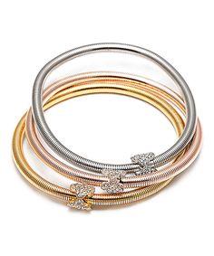Swarovski® Crystal & Tri-Tone Popcorn Triple Stretch Bracelet Set by Kent's Jewelry Company  #zulily #zulilyfinds