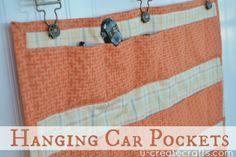 Hanging Car Pockets Tutorial by Becky at www.u-createcrafts.com