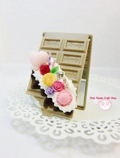 Sweet decoden chocolate bar compact mirror by pinkpandacraftshop, $15.00 #clay #handmade #sweetdeco #kawaii #cute #compactmirror #mirror #decoden