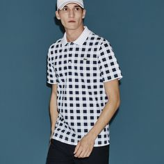 Lacoste Men's SPORT Super Light Gingham Print Polo Golf Shirt featuring polyvore, men's fashion, men's clothing, men's shirts, men's casual shirts, lacoste sport lacoste sport, mens golf polo shirts, mens sports shirts, mens gingham shirt, mens gingham check shirt and mens sport shirts