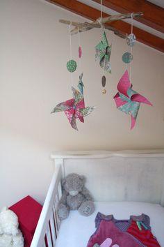 Mobile en bois flotté, coquillage et origami. | En_Coquillages ...