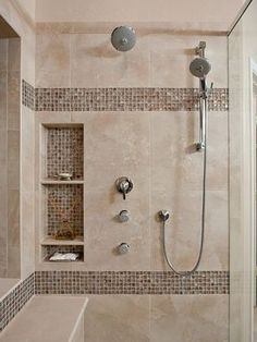 Tiny house bathroom - Looking for small bathroom ideas? Take a look at our pick of the best small bathroom design ideas to inspire you before you start redecorating. Small Bathroom With Shower, Master Bathroom Shower, Shower Niche, Small Bathtub, Bathroom Showers, Narrow Bathroom, Shower Walls, Beige Bathroom, Hall Bathroom