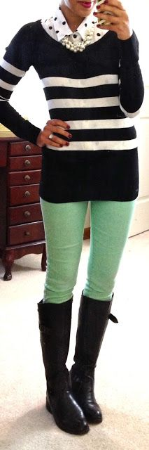 Mint pants, easy outfit to use for work! Fall Winter Outfits, Autumn Winter Fashion, Fall Fashion, Mint Pants, Green Pants, Winter Stil, Teaching Outfits, Work Fashion, Vestidos