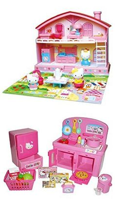 TWO Popular Hello Kitty Sets - Kitty House and Kitchen - Sold Together. Two Hello Kitty Sets that provide many play opportunities together. Miniature, Hello Kitty, roll play kitchen set from Japan includes everything in the pictures such as cooking utensils, milk carton, vegetables, toaster and so on. Product dimensions (package): height 22 cm x length 22.5 cm x width 7.5 cm weight 470 g. Hello Kitty Nakayoshi (good friends) house includes 1 Two-level house, 3 Hello Kitty characters…
