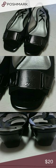 Anne Klein dress wedges size 8 Anne Klein open toe dress wedges front buckle, both cloth and patent leather slingbacks. 2 in. Wedge. Anne Klein Shoes Wedges