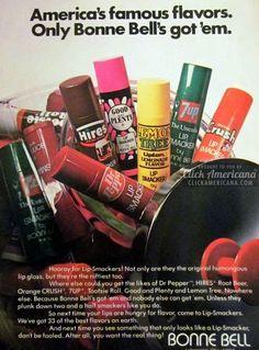 Bonne Bell Lip Smackers vintage Ad, Dr Pepper, Good and Plenty, 7-Up