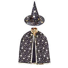 Halloween Witch Wizard Costume Set with Cloak and Hat, Unisex Cape Set for Kids Cosplay (Black) Witch Costumes Kids Costumes Boys, Halloween Costumes For Girls, Halloween Party, Wizard Costume, Witch Costumes, Cloak, Star Print, Boy Or Girl, Cosplay