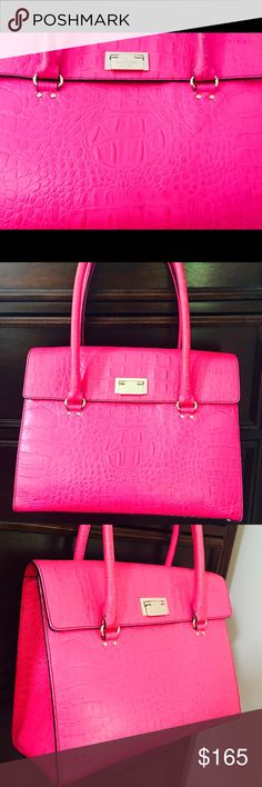 Kate Spade 🎀 Neon Pink Alligator Purse🎀REDUCED🎉 Neon pink with gold clutch, alligator material. Does have a little wear and tear but is still a fantastic purse at a great price!☺️ kate spade Bags Shoulder Bags