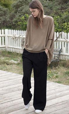 Wide leg black crepe pants.