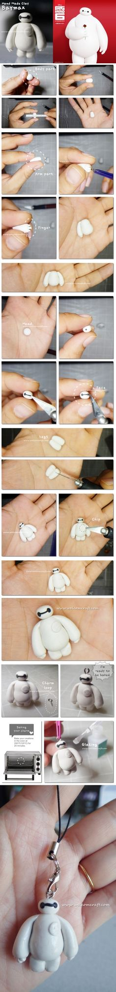 How to make clay Big Hero 6 Baymax step by step tutorial instruction.