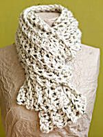 Crochet scarf found on lionbrand.com.  Hook size P......Ch 85.  Row 1: Sc in 2nd ch from hook and in each ch across - 84 sc at the end of this row.  Rows 2-8: Ch 1, turn, working in back loops only, sc in each sc across.  Fasten off.