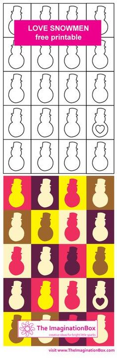 Free printable - Love Snowmen - make your own gift wrap, cards, tags and explore shape and colour