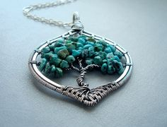 Turquoise necklace Tree of Life pendant Wire by Weaversfield