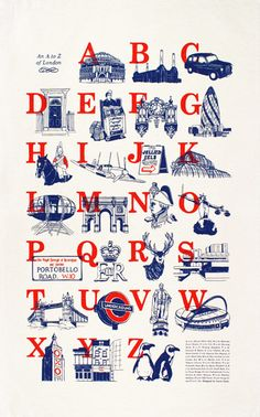 A to Z of London Tea towel by Laura Seaby