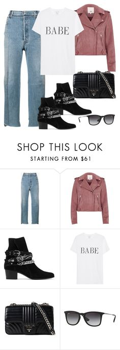 """Untitled #4641"" by dkfashion-658 ❤ liked on Polyvore featuring Vetements, River Island, AMIRI, Prada and Ray-Ban"