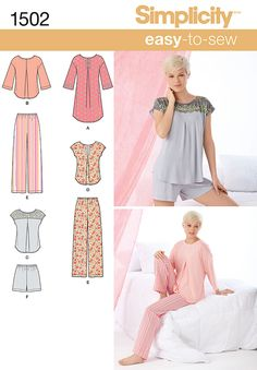 S1502 Misses' Pants or Shorts & Nightshirt or Top | Easy ★