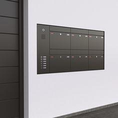 Avantgarde Mit der Serie 05 Avantgarde stellen wir Ihnen unsere hochwertigste Produktlinie vor. Ein zeitgemäßes und schlichtes Erscheinungsbild zeichnet diese Modellreihe aus. Hochwertig gedämpfte Einwurfklappen, flächenbündige  Klingeltaster und Namensschilder mit LED-Beleuchtung für gehobene Ansprüche. Für zusätzliche Informationen fragen Sie uns nach unseren detaillierten Unterlagen. Mail Room, Door Gate Design, Post Box, Stone Mosaic, Urban Design, Mailbox, Modern Architecture, Locker Storage, Living Spaces
