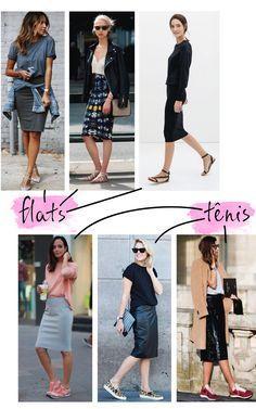 Referências de looks com saia lápis com tênis e flats - OOTD with pencil skirt and sneakers  #fashionblog #blogdemoda #moda
