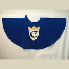 Half-circle cloak, cotton velvet (velveteen) for Knight, King, Prince, or Princess, purple or black made to order, sizes 2T-3T and 4T-5T. $40.00, via Etsy.