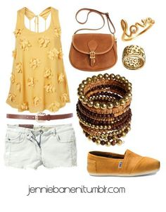 #fashions #colors #brown #yellow #earthtones #denimshorts #bracelets #beadedaccessories #tanks #goldenyellow #tomsshoes #toms #potatoshoes #cute #love #bags #collage #outfits #style