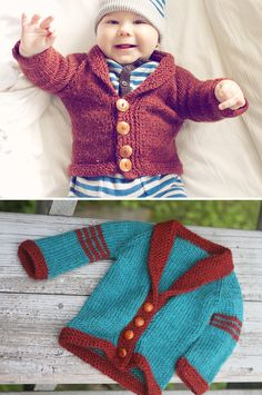 Free Knitting Pattern for Easy Baby Sophisticate Cardigan Baby Boy Knitting Patterns Free, Aran Knitting Patterns, Baby Sweater Patterns, Baby Sweater Knitting Pattern, Knit Baby Sweaters, Baby Patterns, Free Knitting, Baby Knitting, Baby Knits