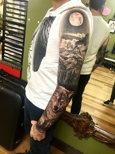 Full sleeve. Tattoos for men. Awesome wolf tattoo. Forrest tattoo. Sleeve tattoo