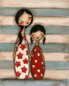 Print of my original folk art childrens painting - TWO - kokeshi dolls mother daughter sisters
