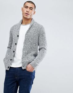 Abercrombie & Fitch Shawl Collar Knit Cardigan in Gray Marl