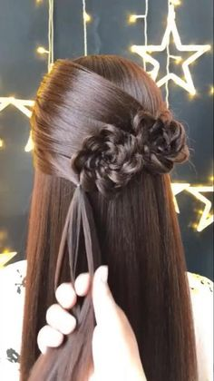 Hairdo For Long Hair, Bun Hairstyles For Long Hair, Step Hairstyle, Hairstyle Tutorials, Hairstyles Videos, Hair In A Bow, Hairstyles With Ribbon, Hairstyles For Homecoming, Cheer Hairstyles