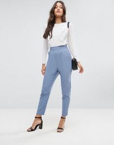 ASOS High Waist Tapered Pants with Elasticated Back