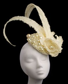 Jayne Cream by Carol Kennelly Kentucky Derby Race, Headpieces, Fascinators, Western Hats, Fancy Hats, Floral Headpiece, Girl With Hat, Headgear, Headdress