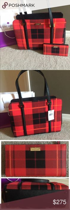 """♠️Kate Spade Newbury Lane Plaid Satchel♠️ ⭐️NWT Kate Spade Newbury Land Plaid Satchel & Wallet Set..♠️ Kate Spade New York plate on the front side♠️Material: Beautiful plaid fabric body, black leather accents &handles ♠️ Center Zip pocket & 2 Outside Snap Closure Sections♠️Inside zip pocket and 2 slip pockets.• Black signature lining♠️Care card♠️Top handles have 8"""" drop♠️Wallet is snap closure w/Zippered Change Pocket on the back♠️ID window and lots of pockets to hold cash and cardsNO…"""