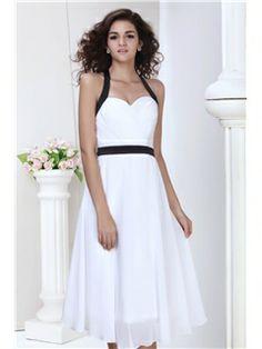 Wonderful A-line V-neck Tea-Length Juliana's Bridesmaid Dress