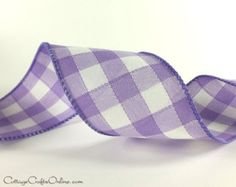 """last one 4 Yds 12/"""" Lavender Purple White Gingham Plaid Satin Wired Ribbon 1 1//2/"""""""
