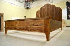 Rustic Salvaged Oregon Barn Wood Bed. $1,200.00, via Etsy.