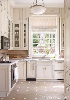 Gorgeous white painted cabinets in this clean simple kitchen.