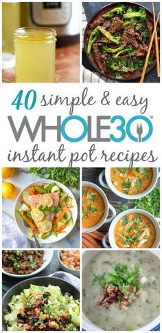 40 instant pot recipes so you cook recipes while spending less time actually cooking. instant pot recipes that are easy meal prep quick clean up and family friendly healthy recipes. Includes and Paleo instant pot chicken Healthy Recipes, Whole Food Recipes, Cooking Recipes, Instapot Recipes Paleo, Whole 30 Crockpot Recipes, Keto Recipes, Cheap Recipes, Microwave Recipes, Dessert Recipes