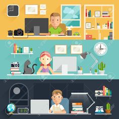 Business People Working on an Office Desk Vector Image , Color Vector, Vector Design, Logo Design, Graphic Design, Flat Illustration, Character Illustration, People Illustration, Wall Street, Painted Wood Texture