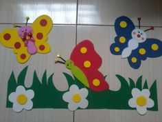 Cleurys Tapia E.'s media analytics. School Board Decoration, Class Decoration, School Decorations, Foam Crafts, Preschool Crafts, Diy And Crafts, Crafts For Kids, Butterfly Crafts, Flower Crafts