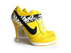 Do The Dew Nikes SB Dunk Women High Top Heel Yellow Black Shoes review