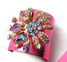 Erickson Beamon HOT MetallicPink Cuff Bracelet Wide Band Multi Color Crystals #EricksonBeamon #Cuff #bracelet