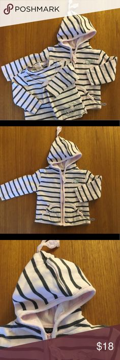 Weekend a la mer sweatshirt and shirt set 6mo Weekend a la mer sweatshirt and shirt set size 6 months. Light pink and grey stripes. Fish detail throughout including hanging off hood and in zipper.   Detailing in back of sweatshirt and front of shirt. Weekend a la Mer Matching Sets