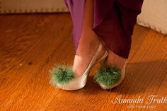 Asparagus Green Feathered Shoe Clips  More by Chuletindesigns, $25.00