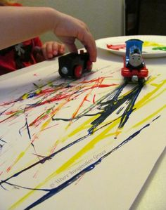 Using Trains to Paint for Preschoolers!