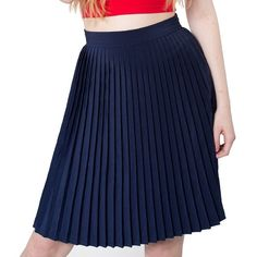 "Navy Pleated Skirt Classic pleated skirt - waist 16"" across - 23""L - hidden side zipper closure - excellent condition, so signs of wear American Apparel Skirts A-Line or Full"
