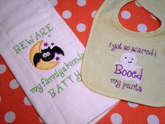 Funny Baby Halloween Bib and Burp cloth