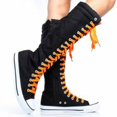Canvas Sneakers Ladies Flat Tall Punk Womens Skate Shoes Lace up Knee High  Boots Knee High 9265f76aa